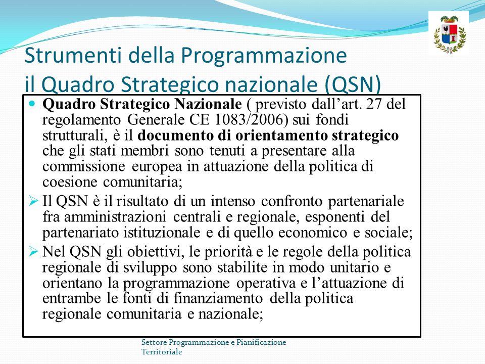 Strumenti della Programmazione il Quadro Strategico nazionale (QSN)