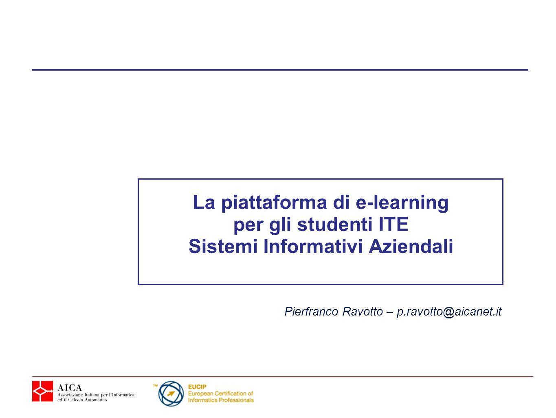 La piattaforma di e-learning Sistemi Informativi Aziendali