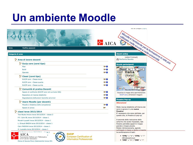 Un ambiente Moodle Moodle è l'ambiente per la formazione in rete più utilizzato nelle scuole e nelle università.