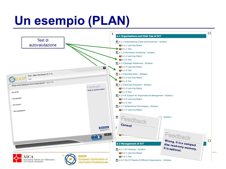 Un esempio (PLAN) Test di autovalutazione