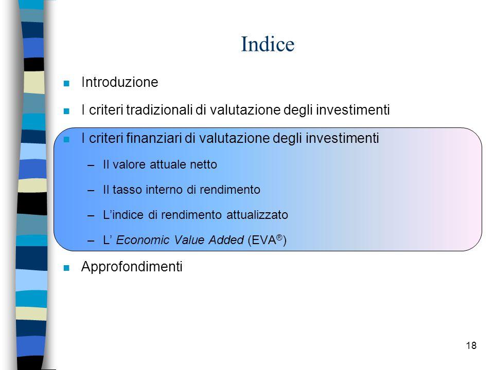 Indice Introduzione. I criteri tradizionali di valutazione degli investimenti. I criteri finanziari di valutazione degli investimenti.