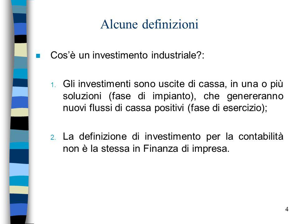 Alcune definizioni Cos'è un investimento industriale :
