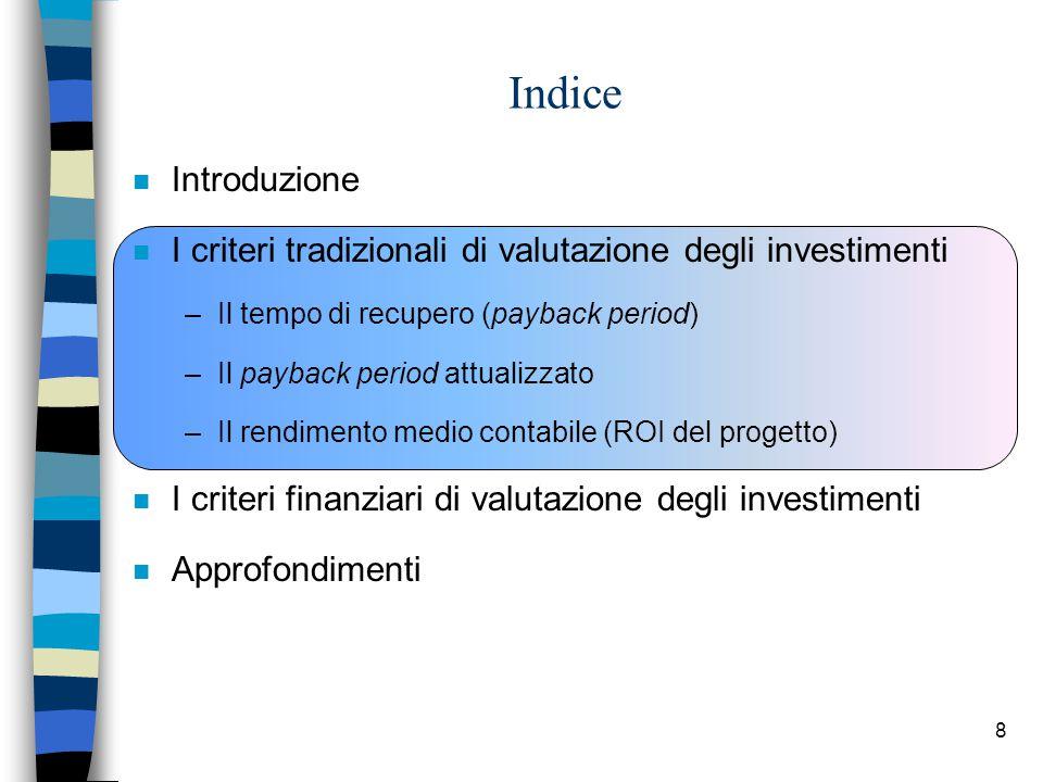 Indice Introduzione. I criteri tradizionali di valutazione degli investimenti. Il tempo di recupero (payback period)
