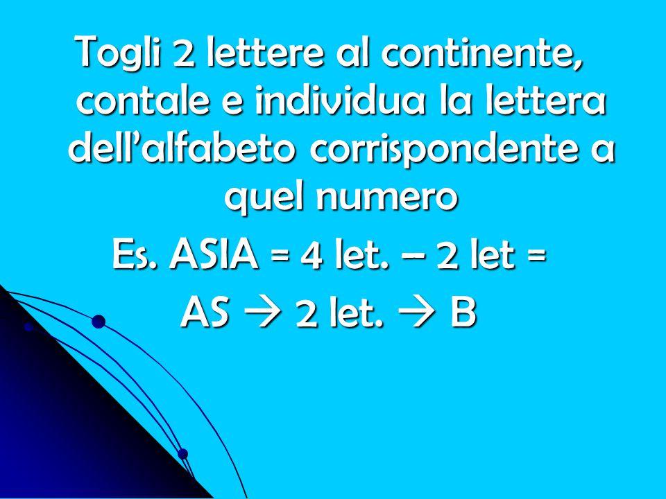 Togli 2 lettere al continente, contale e individua la lettera dell'alfabeto corrispondente a quel numero