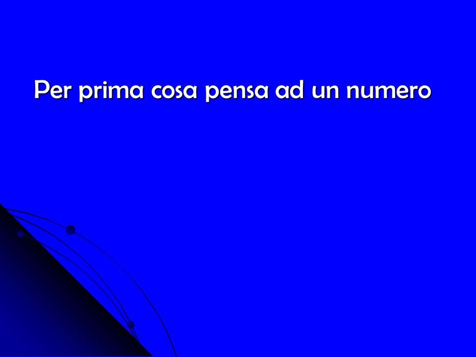 Per prima cosa pensa ad un numero