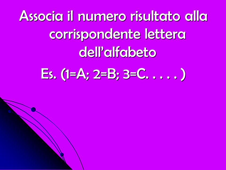 Associa il numero risultato alla corrispondente lettera dell'alfabeto