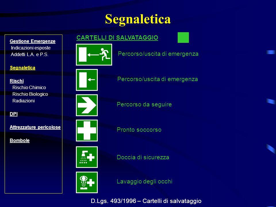 D.Lgs. 493/1996 – Cartelli di salvataggio