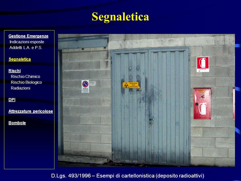 D.Lgs. 493/1996 – Esempi di cartellonistica (deposito radioattivi)
