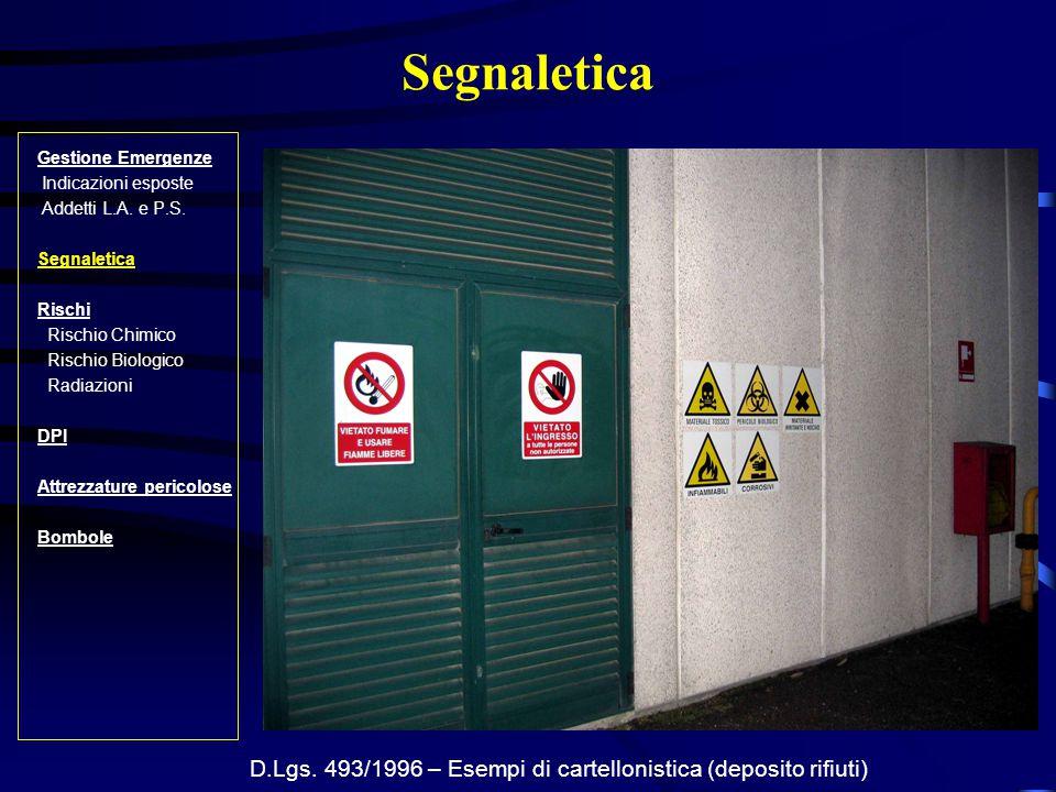 D.Lgs. 493/1996 – Esempi di cartellonistica (deposito rifiuti)