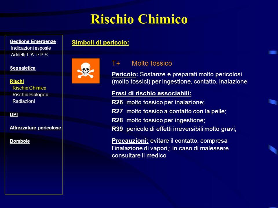 Rischio Chimico T+ Molto tossico Simboli di pericolo: