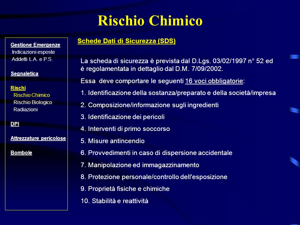 Rischio Chimico Schede Dati di Sicurezza (SDS)
