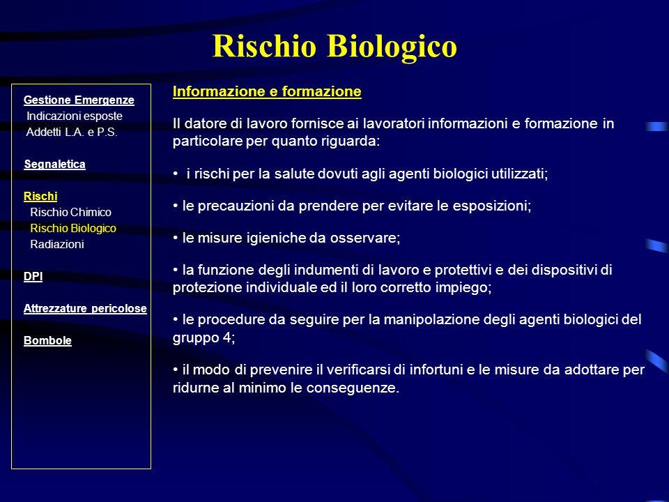 Rischio Biologico Informazione e formazione