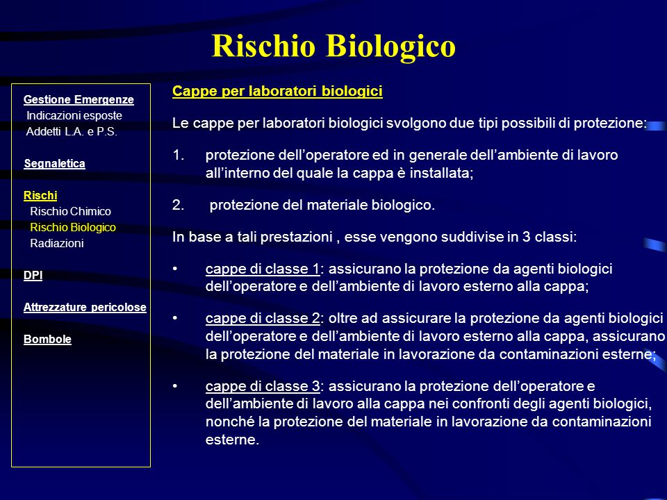 Rischio Biologico Cappe per laboratori biologici