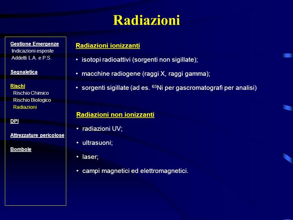 Radiazioni Radiazioni ionizzanti