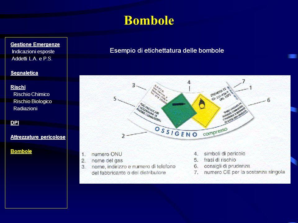 Bombole Esempio di etichettatura delle bombole Gestione Emergenze