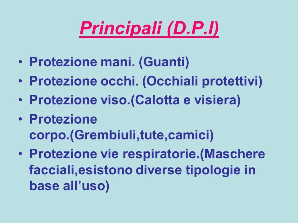 Principali (D.P.I) Protezione mani. (Guanti)