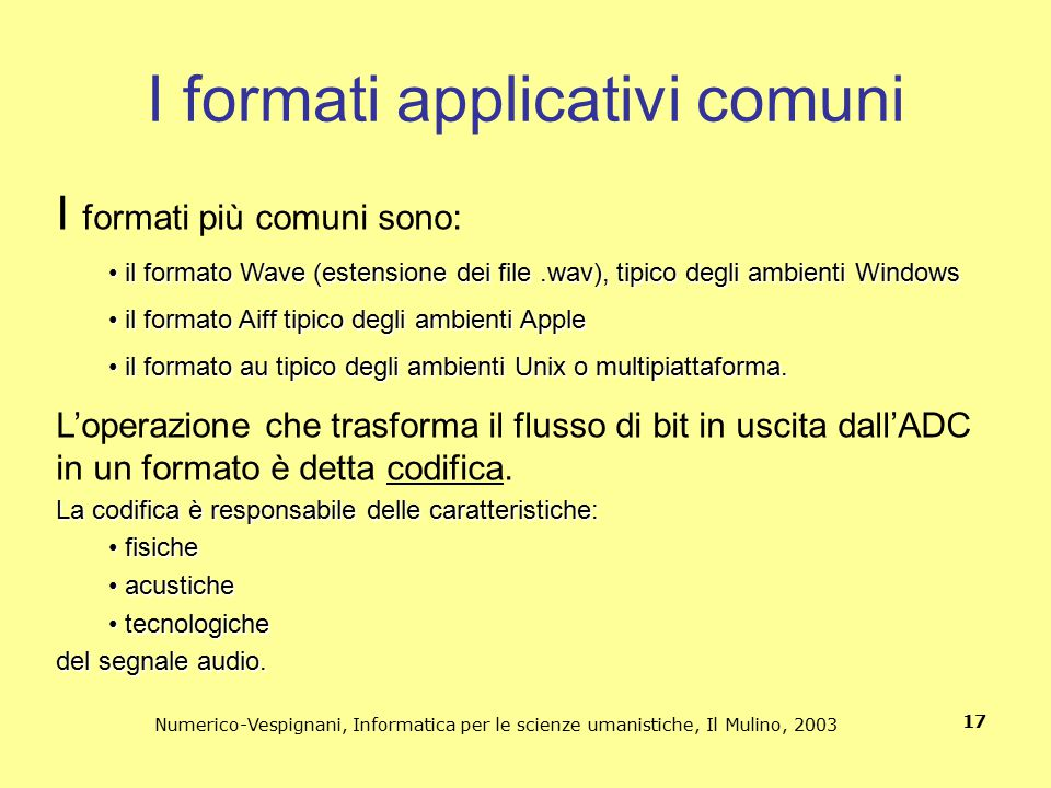 I formati applicativi comuni