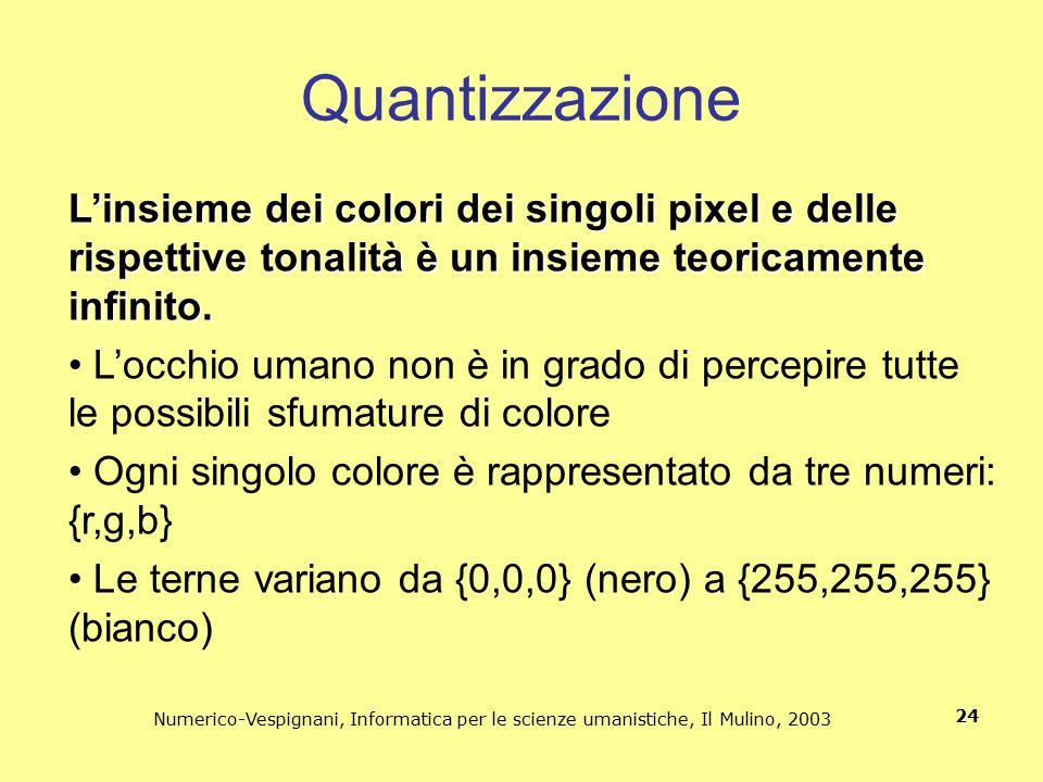 Quantizzazione L'insieme dei colori dei singoli pixel e delle rispettive tonalità è un insieme teoricamente infinito.