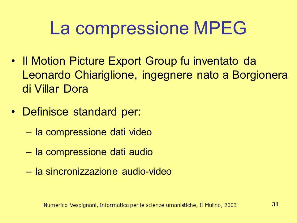 La compressione MPEG Il Motion Picture Export Group fu inventato da Leonardo Chiariglione, ingegnere nato a Borgionera di Villar Dora.