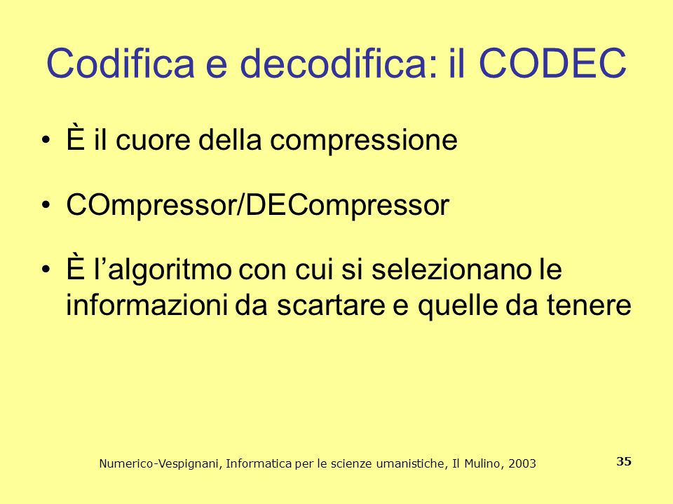 Codifica e decodifica: il CODEC