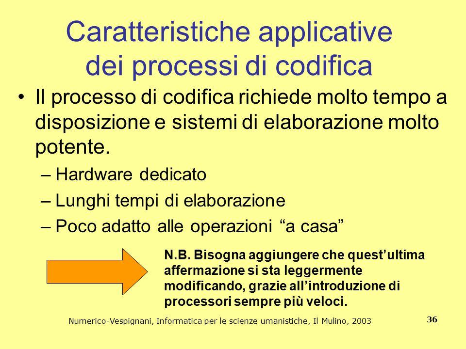 Caratteristiche applicative dei processi di codifica