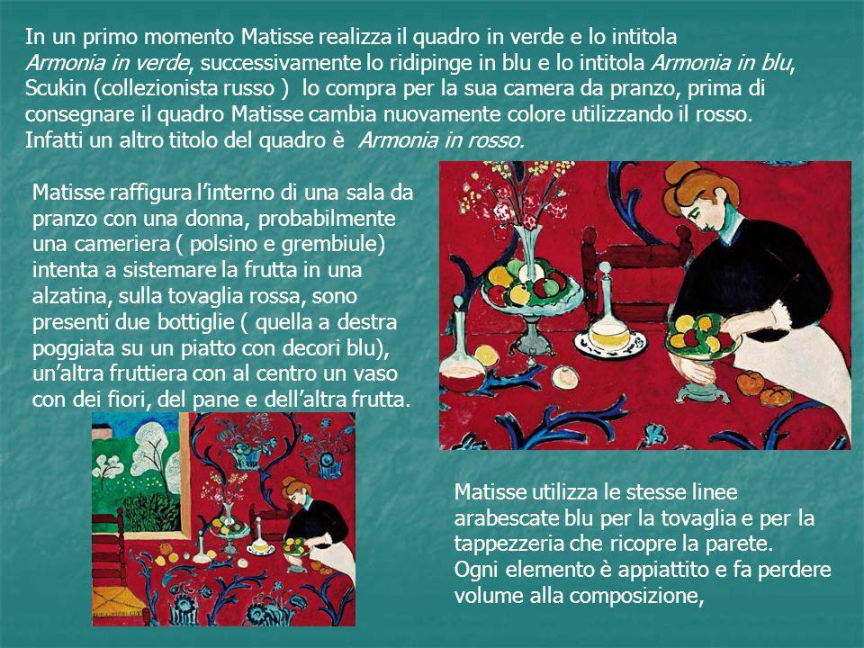 In un primo momento Matisse realizza il quadro in verde e lo intitola
