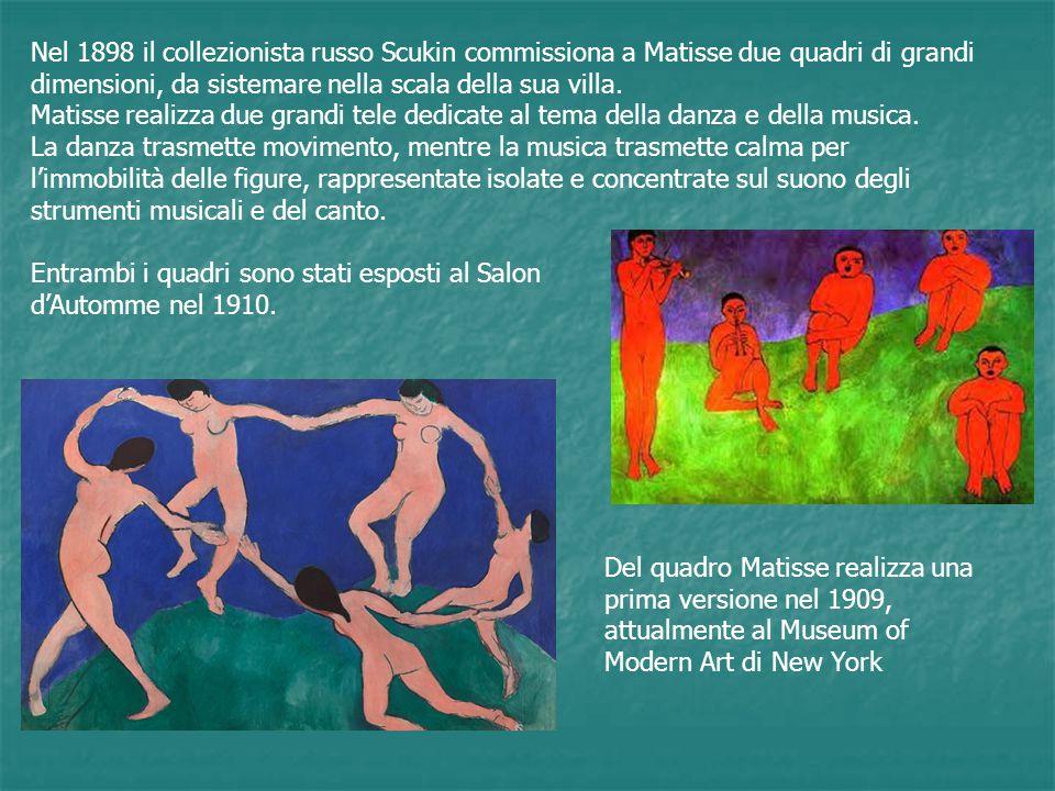 Nel 1898 il collezionista russo Scukin commissiona a Matisse due quadri di grandi dimensioni, da sistemare nella scala della sua villa.