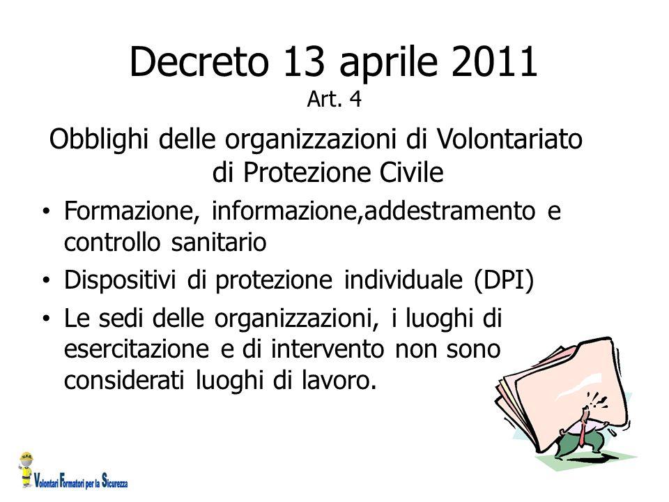 Obblighi delle organizzazioni di Volontariato di Protezione Civile