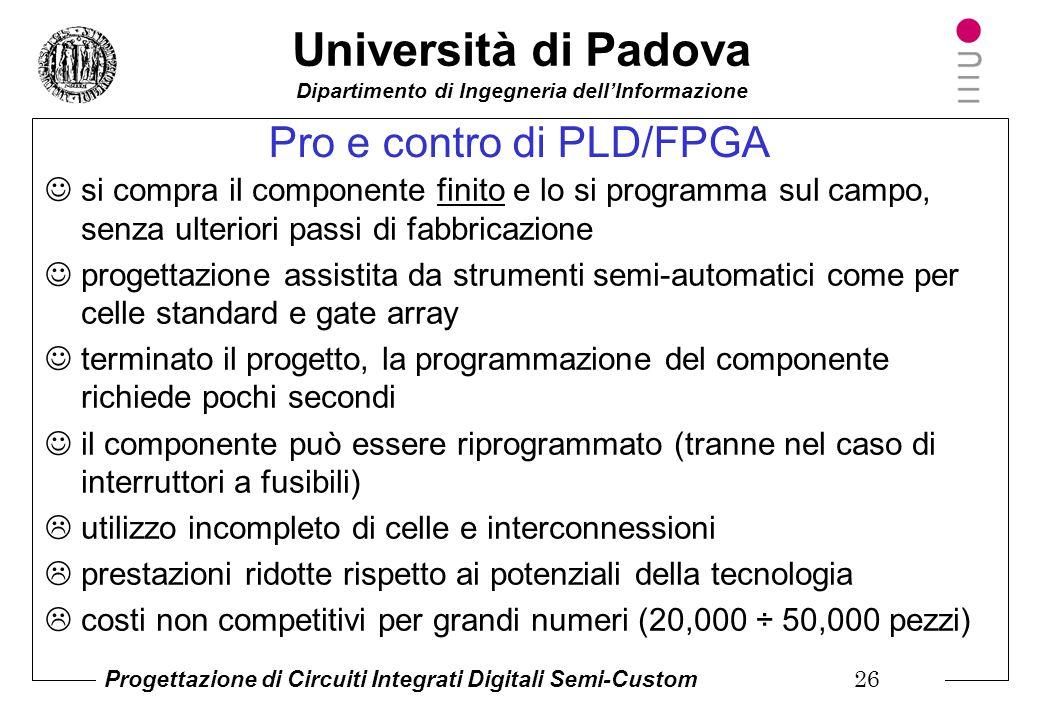 Pro e contro di PLD/FPGA