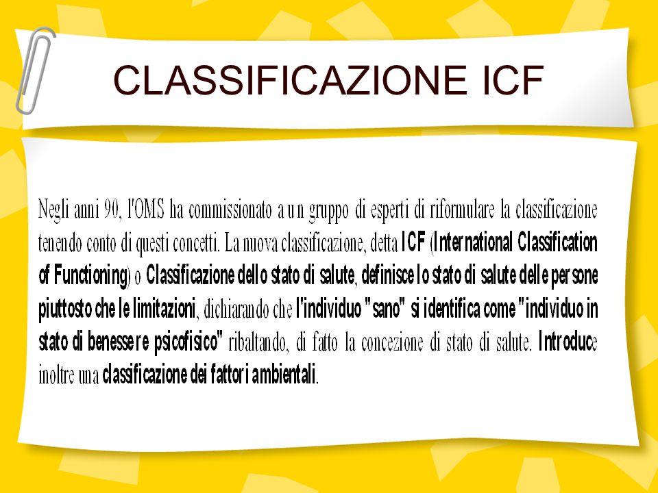 CLASSIFICAZIONE ICF