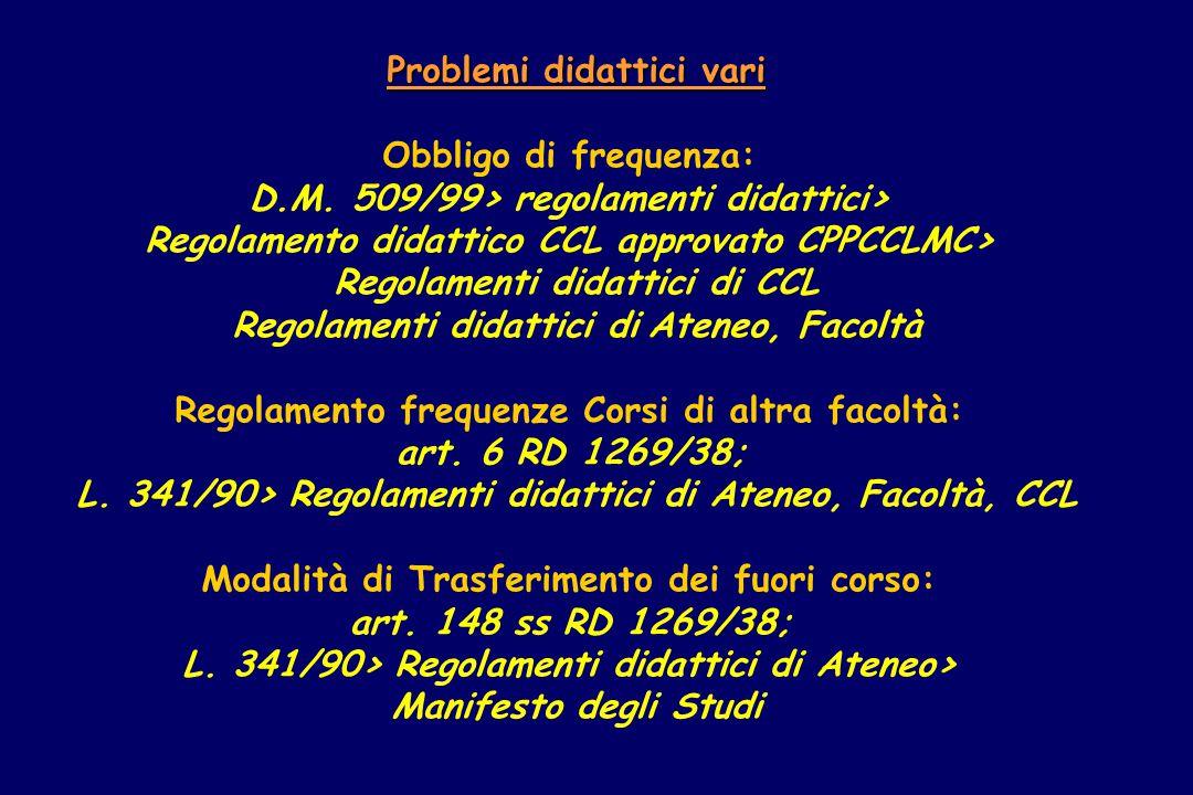 Problemi didattici vari Obbligo di frequenza: