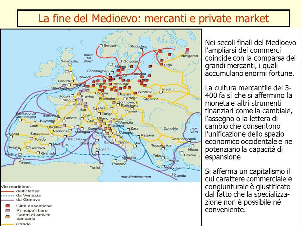 La fine del Medioevo: mercanti e private market