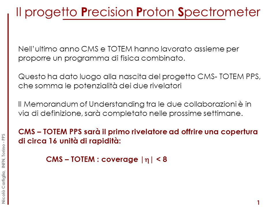 Il progetto Precision Proton Spectrometer