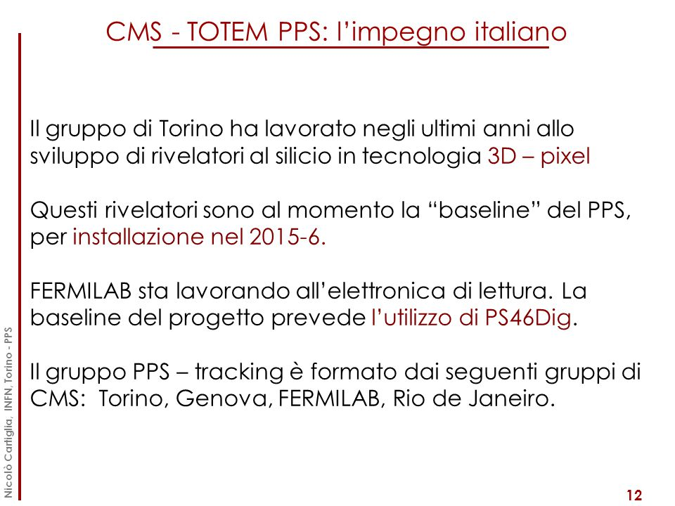 CMS - TOTEM PPS: l'impegno italiano