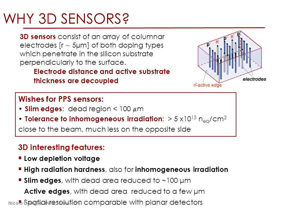 WHY 3D SENSORS Wishes for PPS sensors: 3D interesting features: