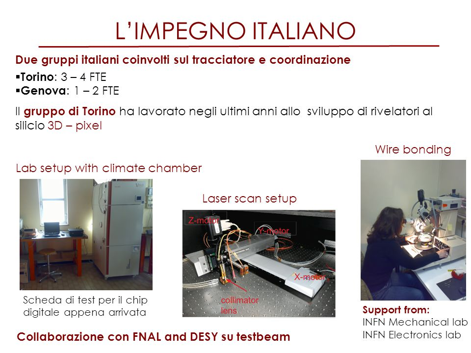 L'IMPEGNO ITALIANO Due gruppi italiani coinvolti sul tracciatore e coordinazione. Torino: 3 – 4 FTE.