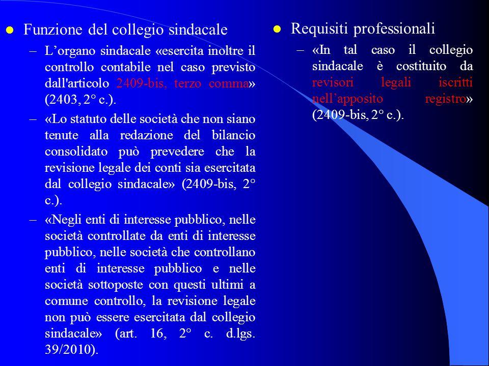 Funzione del collegio sindacale Requisiti professionali