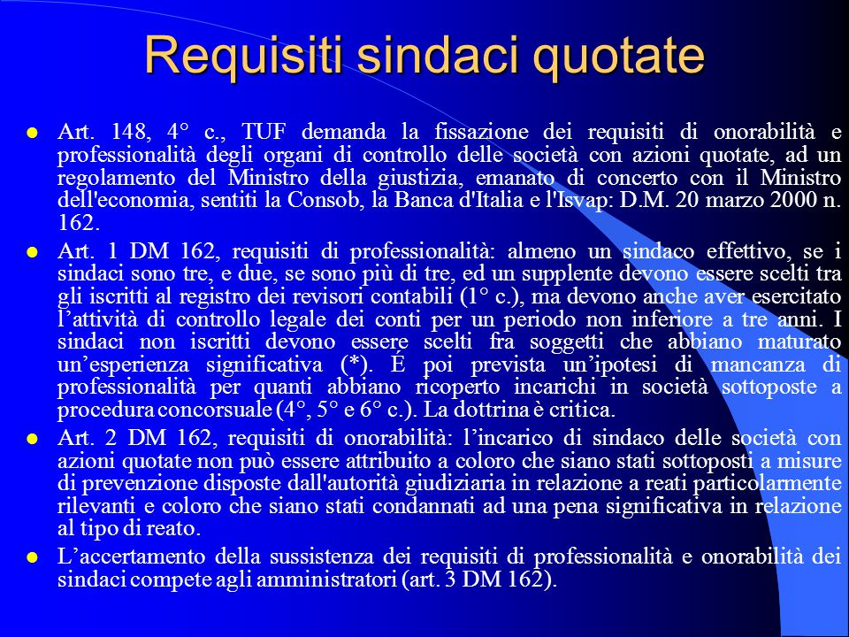 Requisiti sindaci quotate