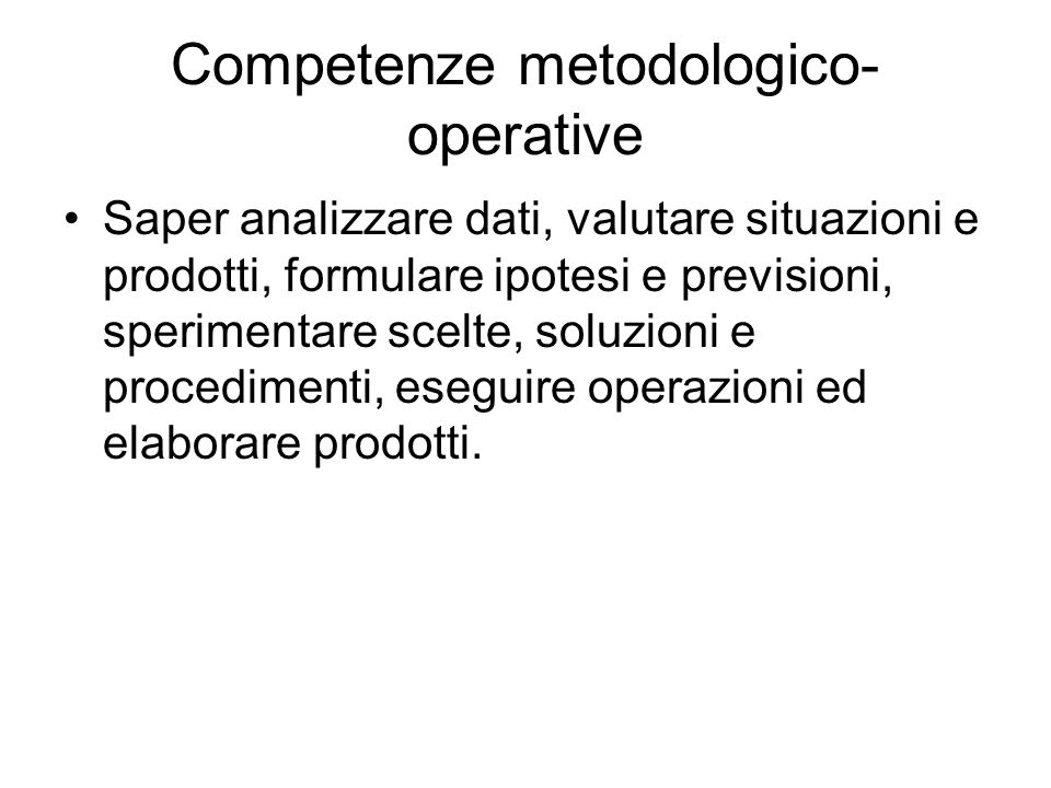 Competenze metodologico-operative