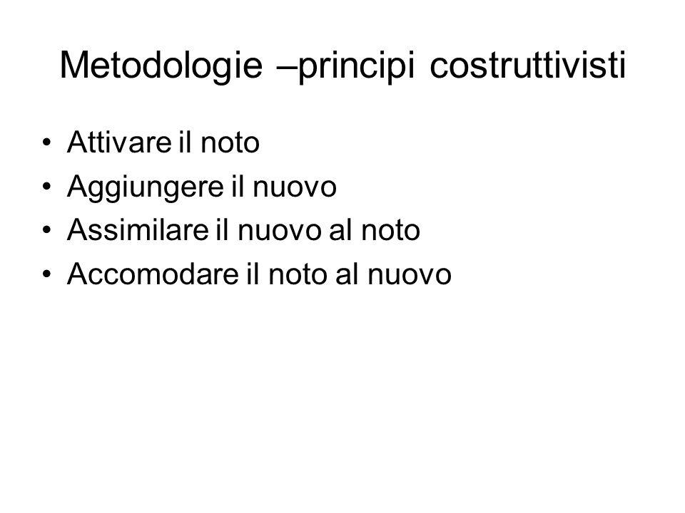 Metodologie –principi costruttivisti