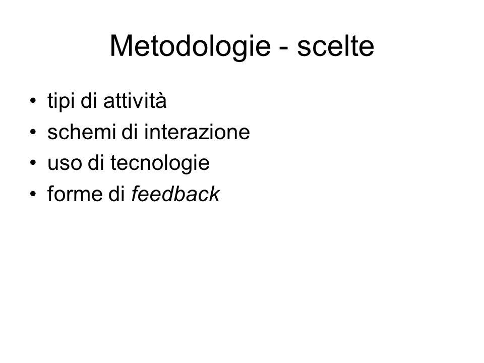 Metodologie - scelte tipi di attività schemi di interazione