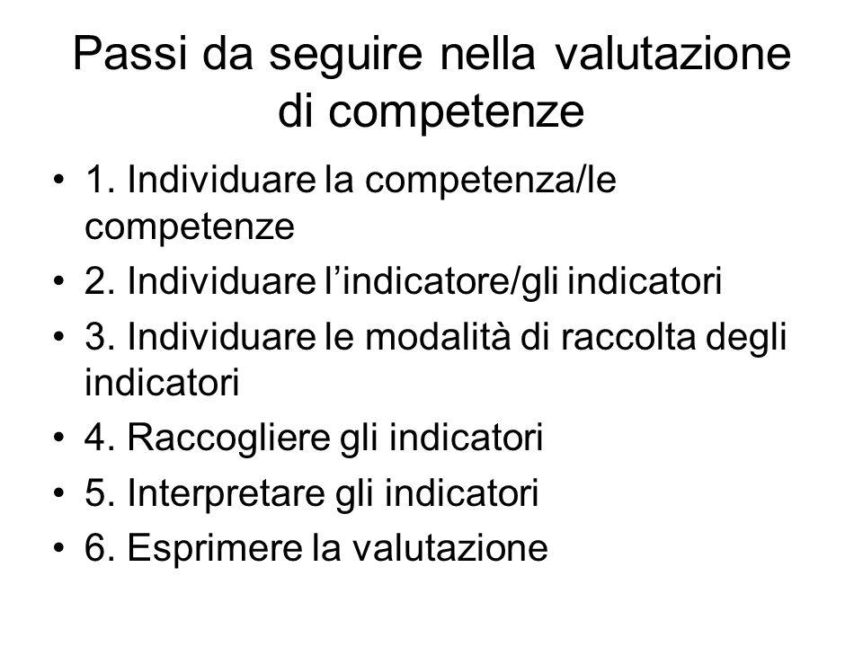 Passi da seguire nella valutazione di competenze
