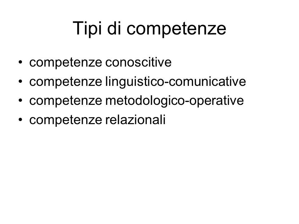 Tipi di competenze competenze conoscitive