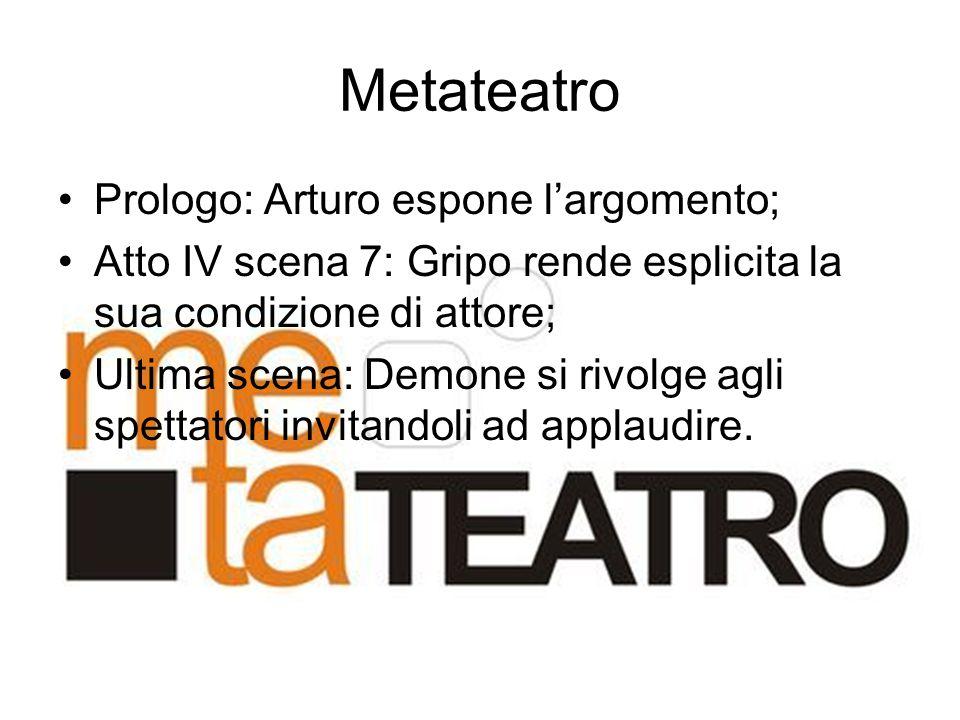 Metateatro Prologo: Arturo espone l'argomento;