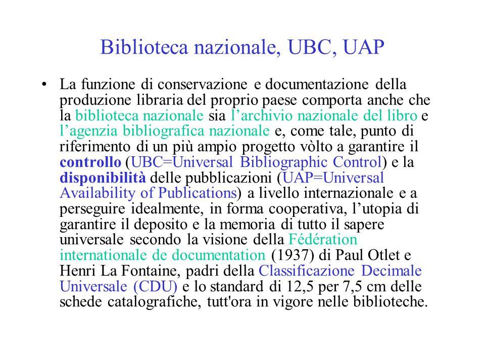Biblioteca nazionale, UBC, UAP