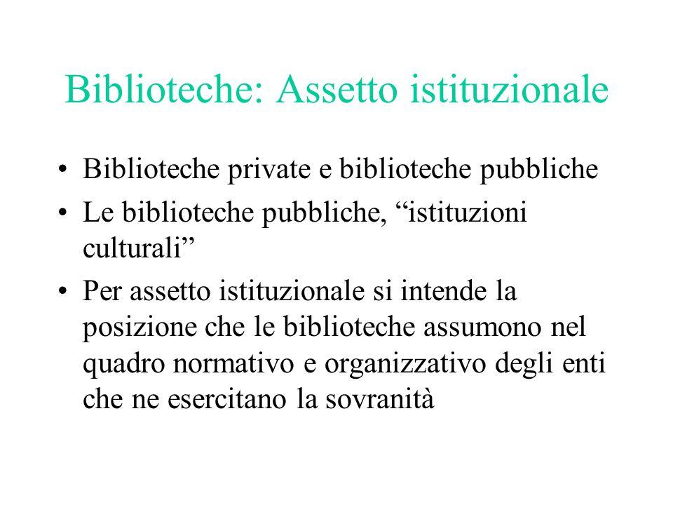 Biblioteche: Assetto istituzionale