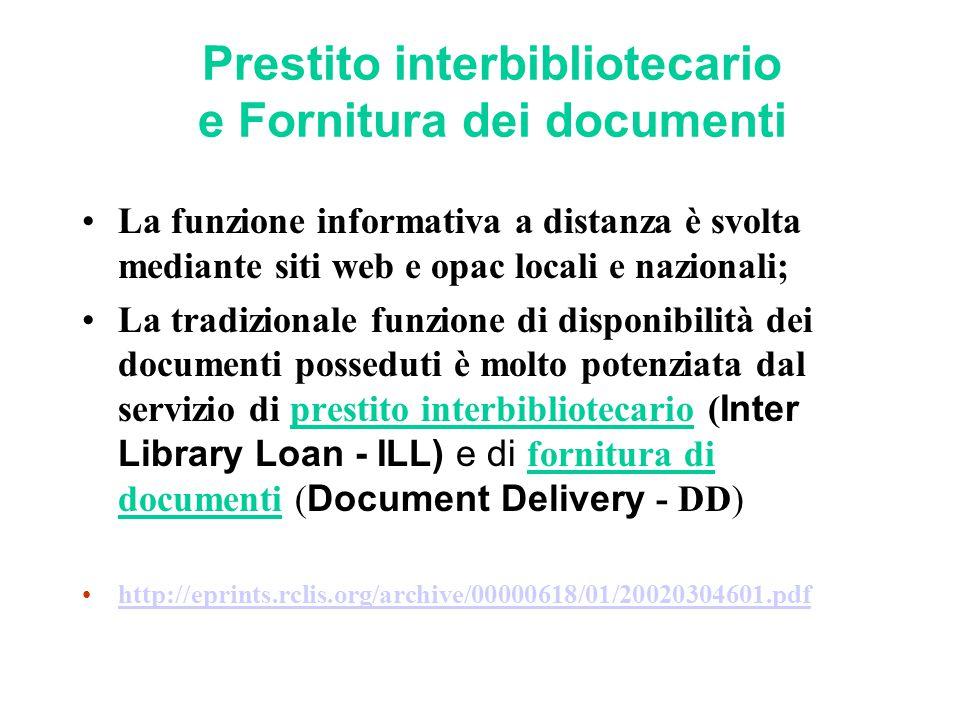 Prestito interbibliotecario e Fornitura dei documenti