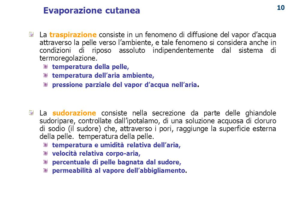 Evaporazione cutanea