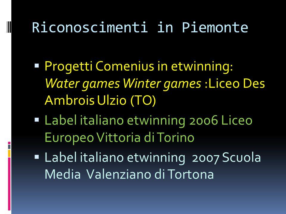 Riconoscimenti in Piemonte