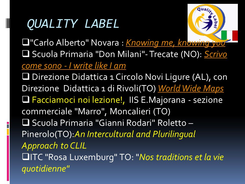 QUALITY LABEL Carlo Alberto Novara : Knowing me, knowing you